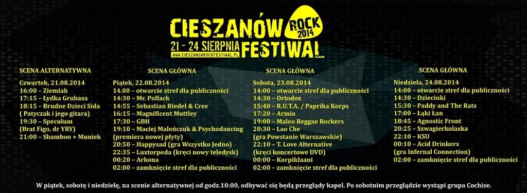 Program godzinowy Cieszanow Rock Festiwal