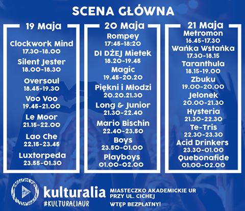 Rozpiska godzinowa Kulturalia2016