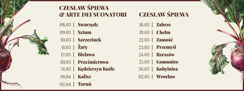Trasa koncertowa Czeslaw Śpiewa