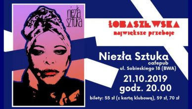 Plakat informujący o koncercie Grażyny Łobaszewskiej w rzeszowskim klubie Niezła Sztuka. Koncert odbędzie się 21 października roku o godzinie 20:00.