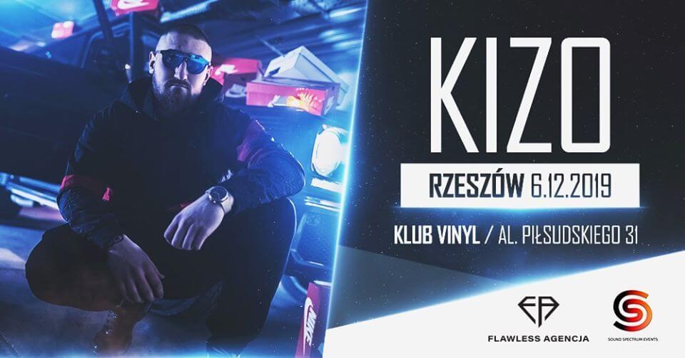 Plakat informujący o pierwszym koncercie KIZO w Rzezsowie, który odbędzie się 6 grudnia 2019 roku w klubie Vinyl przy ulicy Piłsudskiego 31