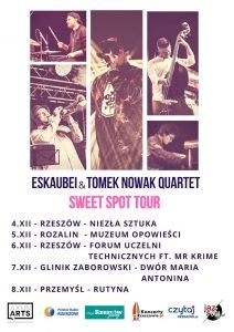 Eskaubei & Tomek Nowak Quartet, plakat promujący trasę grudniową