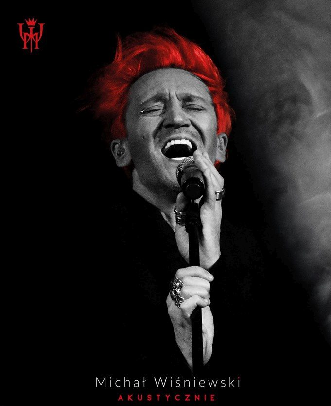Plakat promujący koncert Michała Wiśniewskiego akustycznie w rzeszowskim kinie Zorza w dniu 7 lutego 2020 roku. Początek koncertu godzina 19:00. Bilety w cenie od 79 złotych.